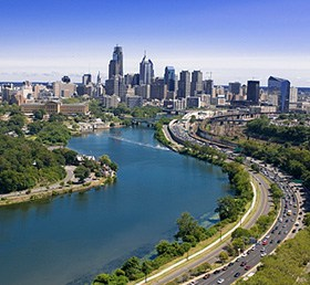 Schulkill River and Philadelphia skyline