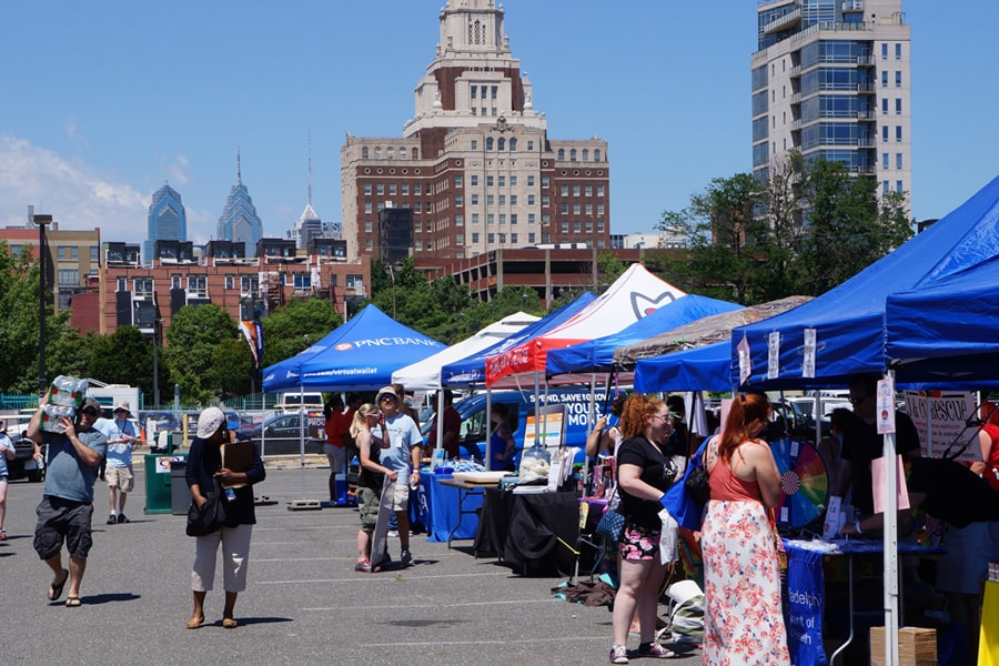 Vendors setting up for Philly PrideDay Festival